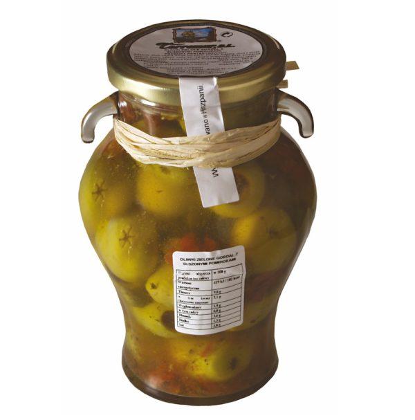 oliwki zielone gordal zsuszonymi pomidorami,